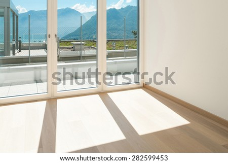 Interior, empty room of a modern apartment with windows #282599453