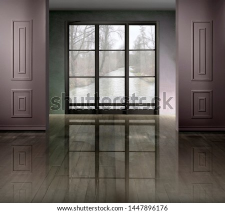 Interior environment with window, to be furnished #1447896176