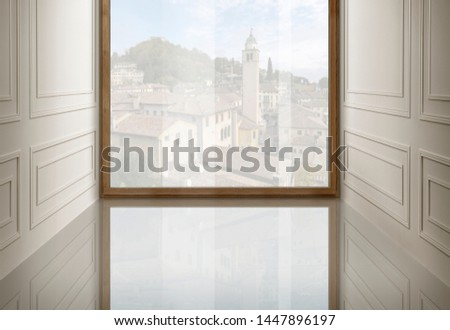 Interior environment with window, to be furnished #1447896197