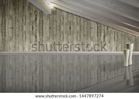 Interior environment with wooden beams, to be furnished #1447897274