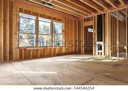 interior frame of a new house under construction