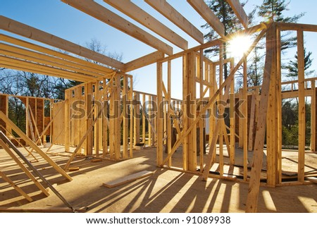 Interior framing of a new house under construction