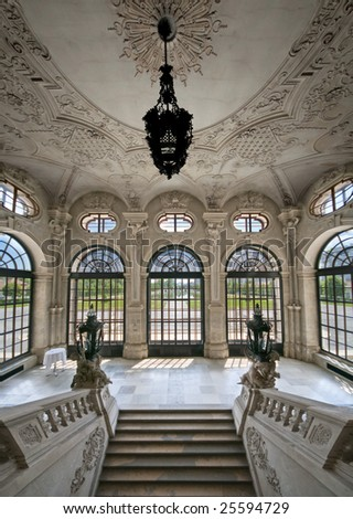 Interior from Belvedere palace in Vienna.General entrance with stairs and general view to park