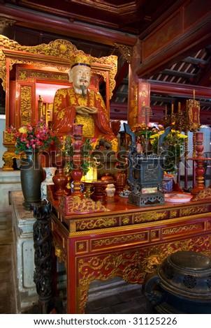 Interior from the Temple of Literature, Van Mieu, in Hanoi, Vietnam