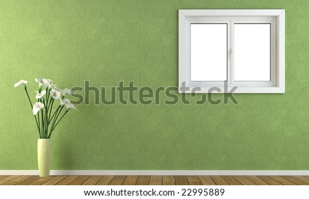 Interior green wall with calla lillys and a window