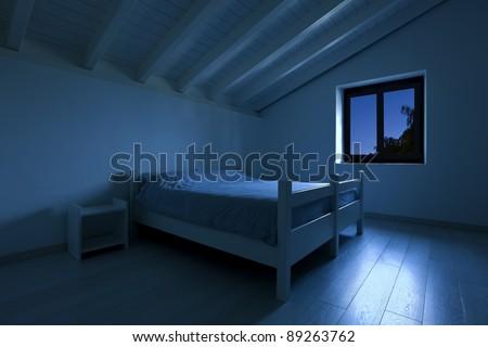 interior house, bedroom at night