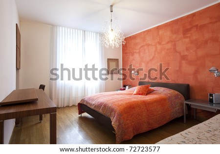 Interior house, bedroom red wall