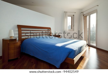 Interior house, bedroom with windows