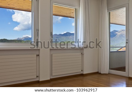 interior house, empty room, window with white curtains #103962917
