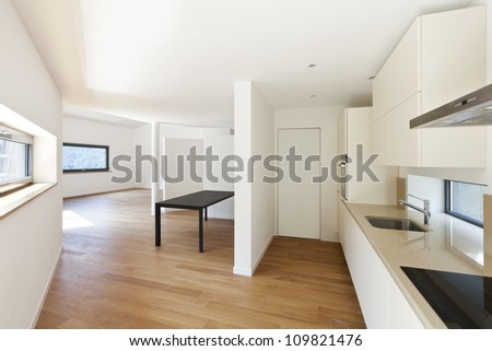 interior house, empty room with modern kitchen