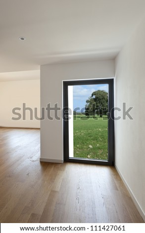 interior house, glass door with garden view
