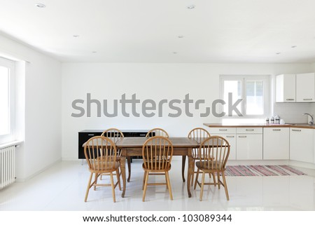 interior house, large modern kitchen, dining table