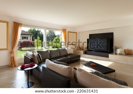 interior house, nice living room with leather sofa #220631431