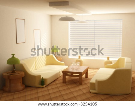 Interior in light tones sofa  table  window jalousie