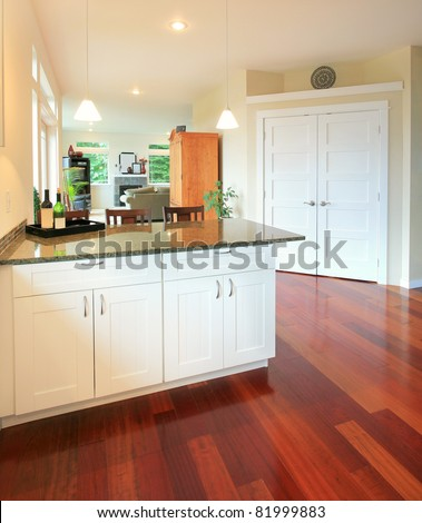 Interior in Luxury Home: kitchen area with hardwood floors and view of hallway and living room