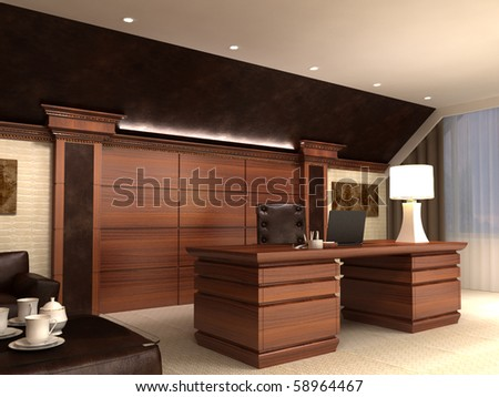 Interior in modern style, in light tones and with wooden elements. Kind on a table.