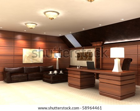 Interior in modern style, in light tones and with wooden elements. Kind on sofas and a table.