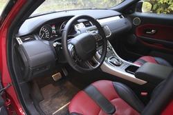 interior inside a red car