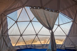 Interior inside Geodesic Dome Tents pvc.