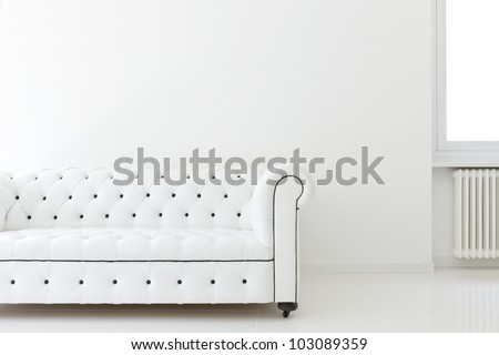 interior, leather sofa  in white room