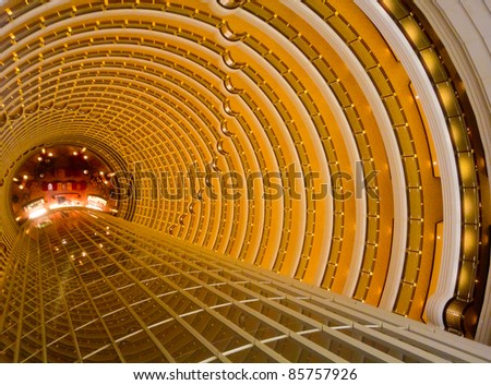Interior lighting of the tunnel in Shanghai