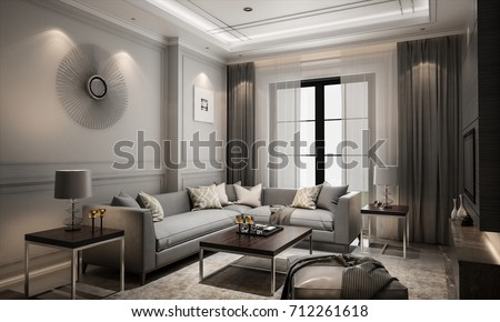 Interior living modern classic style, 3D rendering, 3D illustration