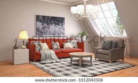 Interior living room. 3d illustration #1012043506