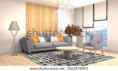 Interior living room. 3d illustration #1063878893