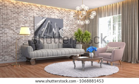 Interior living room. 3d illustration #1068881453