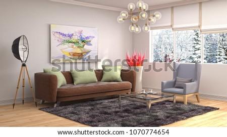 Interior living room. 3d illustration #1070774654