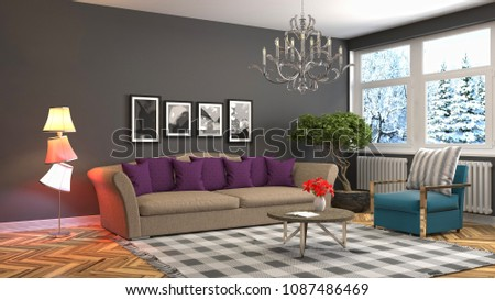 Interior living room. 3d illustration #1087486469