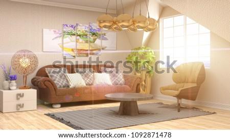 Interior living room. 3d illustration #1092871478