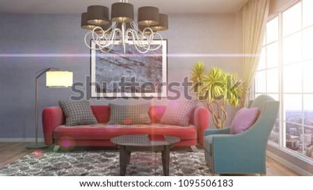 Interior living room. 3d illustration #1095506183