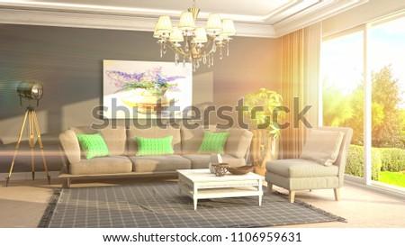 Interior living room. 3d illustration #1106959631