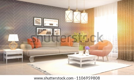 Interior living room. 3d illustration #1106959808