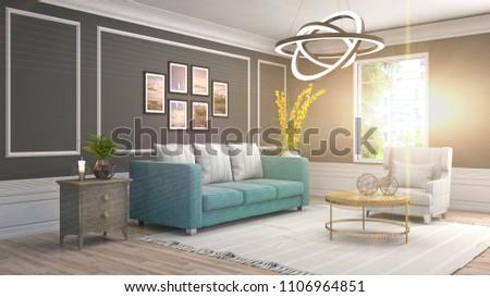 Interior living room. 3d illustration #1106964851