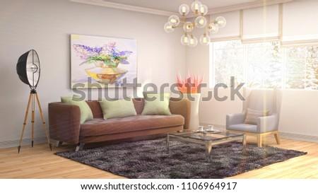 Interior living room. 3d illustration #1106964917