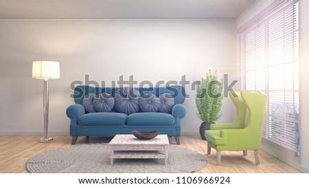 Interior living room. 3d illustration #1106966924