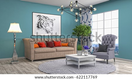 Interior living room. 3d illustration #622117769