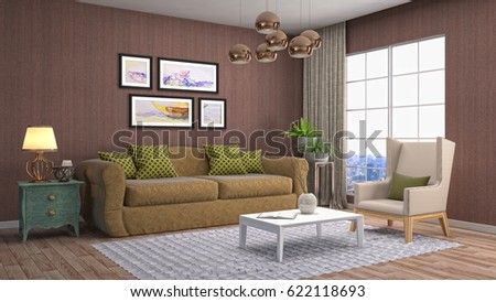 Interior living room. 3d illustration #622118693