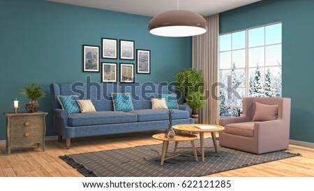 Interior living room. 3d illustration #622121285