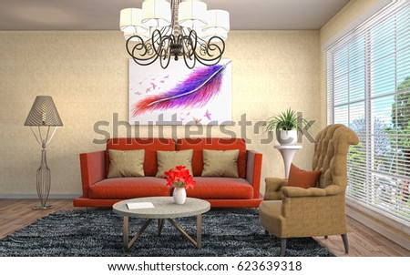 Interior living room. 3d illustration #623639318