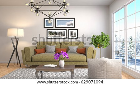 Interior living room. 3d illustration #629071094