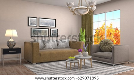 Interior living room. 3d illustration #629071895