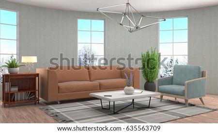 Interior living room. 3d illustration #635563709