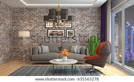 Interior living room. 3d illustration #635565278