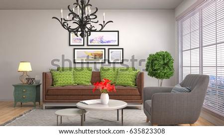 Interior living room. 3d illustration #635823308