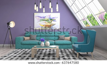 Interior living room. 3d illustration #637647580