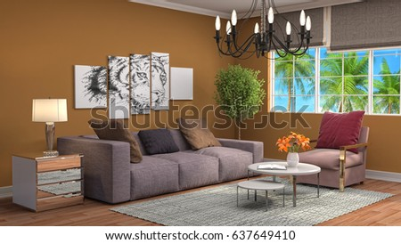 Interior living room. 3d illustration #637649410