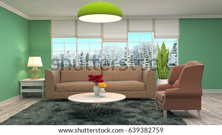 Interior living room. 3d illustration #639382759